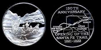 Proof 150th Anniversary of the Opening of the Santa Fe Trail Sterling Silver 26.2 grams Round