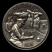 1945 VJ Day Longines Silver Art Round