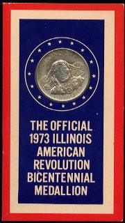 Illinois Iliniwek Official 1973 Illinois Medallion United States Bicentennial 1776-1976 1818-1820 Kaskaskia State Capitol Silver Round