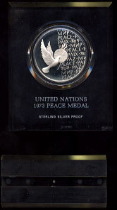 United Nations 1973 Peace Medal 1 Oz Sterling Silver Proof  Silver Round