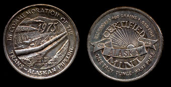 1975 In Commemoration of the Trans-Alaska Pipeline First Section Pipe Laid Silver Art Round