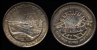 1975 In Commemoration of the Trans-Alaska Pipeline First Bridge Spans the Yukon River Silver Art Round