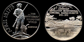 1775-1776 The Shot heard round the world American revolution Bicentennial Silver Art Round