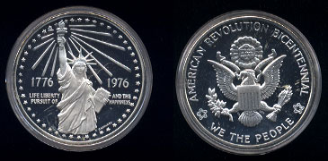 American Revolution Bicentennial We The People 1776 1976 Life Liberty Pursuit of and the Happiness Silver Round