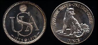 1976 USA Bicentennial Cougar Reverse Silver Art Round