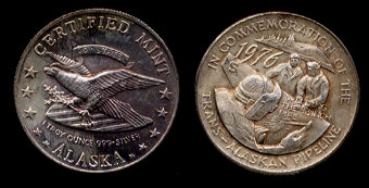 "1976 In Commemoration of the Trans-Alaska Pipeline Welding the 48"" Pipe Certified Mint Silver Art Round"