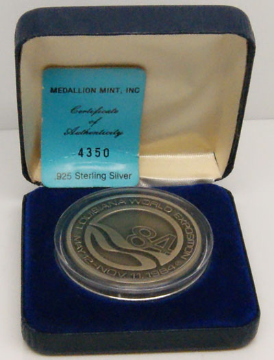 MM Louisiana World Exposition May 12 - Nov. 11, 1984 Yesterday Today Tomorrow New Orleans SN: 4350 .925 Sterling Silver Silver Round