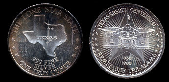 1986 Texas Sesquicentennial Remember The Alamo Silver Art Round