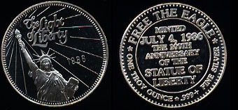 1986 The Light of Liberty Silver Round