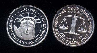 Statue of Liberty Centennial 1886-1986 Silver Art Round