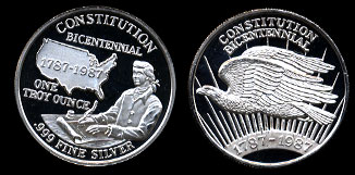 Bicentennial of the Constitution 1787-1987 Flying Eagle silver round