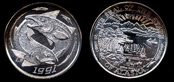 1991 Salmon The Seal of the State of Alaska Silver Round
