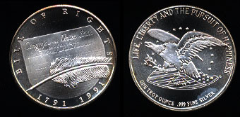 1991 Bill of Rights Silver Art Round