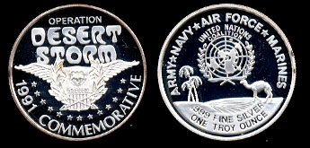 Proof United Nations Coalition 1991 Commemorative Silver Art Round
