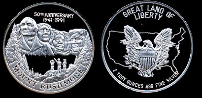 Proof Mount Rushmore 50th Anniversary 1941-1991 Two Troy Ounce Silver Art Round