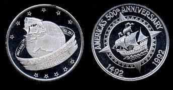1992 Quin Centenary USA Silver Round
