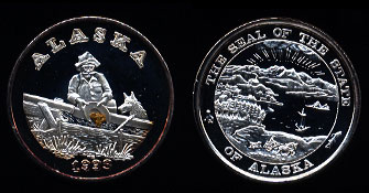 Proof 1993 Alaska Prospector with Real Gold Nugget Silver Art Round