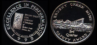1993 Proof Bushy Creek Mine 3rd Quarter Safety Award Silver Art Round