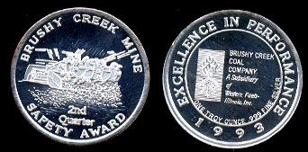 1993 Proof Bushy Creek Mine 2nd Quarter Safety Award Silver Art Round