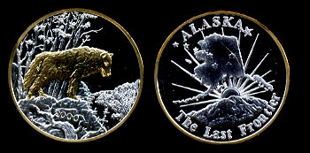 2000 Proof Gold Plated Wolf Alaska Silver Art Round