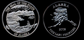 Proof 2002 Alaska Mint Last Frontier Silver Round