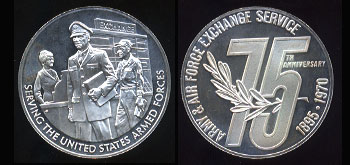 Army & Air Force Exchange Service 75th Anniversary 1895 - 1970 Silver Round