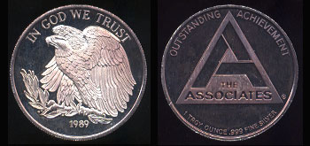 The Associates - 1989 Outstanding Achievement Silver Round