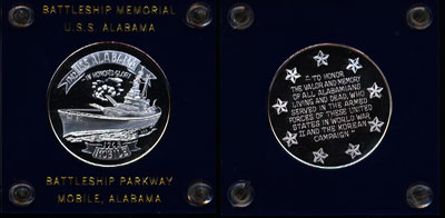Battleship Memorial U.S.S. Alabama Silver Art Round