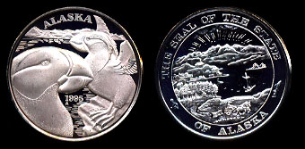 1995  Alaska Proof Horned Puffins Silver Art Round