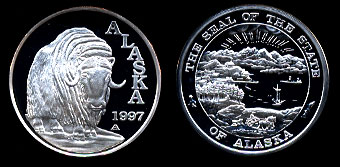 Proof Musk Ox 1997 Alaska The Seal of the State of Alaska Silver Art Round