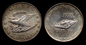 1976 In Commemoration of the Trans-Alaska Pipeline Hoover Platform Silver Art Round