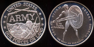 United States -- Our Forces on Land Desert Storm -- Desert Shield One Ounce Silver Round