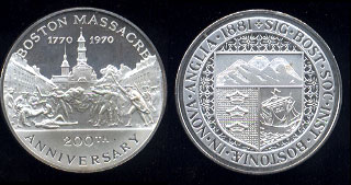 Boston Massacre 1770 - 1970 200th Anniversary of The Boston Massacre *Mishandled* Silver Art Bar