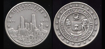 Chicago Fire Centennial 1871 - 1971 Silver Round