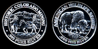 Proof Prospector / Buffalo American Wildlife Series Historic Colorado Mining Silver Art Round