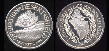 Operation Desert Shield August 7, 1990 Twenty Seven Allies for World Peace Silver Round
