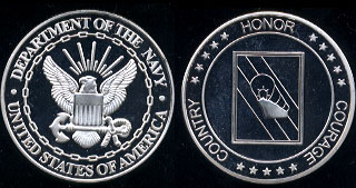 Department of the Navy Honor Courage Country Silver Round