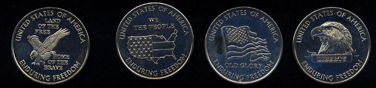 Harah's Diamond Set 4 Round Set United States of America Enduring Freedom Silver Round Set