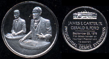 FM Eyewitness Mini-Coin The Presidential Debate James E. Cater Jr. & Gerald R. Ford, Sept. 23, 1976 10mm PLATINUM Weighs 1.3 Grams Platinum Round