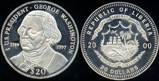Republic of Liberia 20$ Round George Washington Silver Round