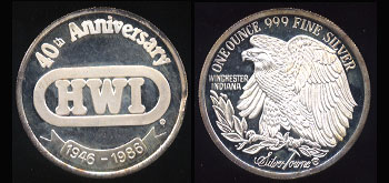 HWI 40th Anniversary 1946 - 1986 Silver Round