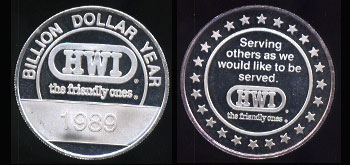 "HWI - 2 ""The Friendly Ones"" Billion Dollar Year 1989 Silver Round"