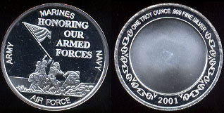 Marines - Army - Air Force - Navy Honoring Our Armed Forces One Troy Ounce of .999 Fine Silver Round
