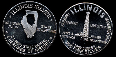 Illinois Silver Energy Farming Manufacturing Illinois State Capital Two troy Ounces Silver Art Round