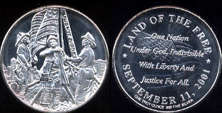 Land of The Free September 11, 2001 Silver Round