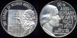 The League of Women Voters 50th Anniversary Women's Right to Vote Silver Round