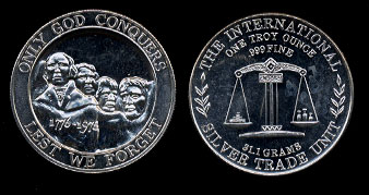 Lest We Forget Only God Conquers Silver Art Round
