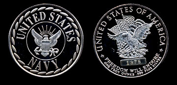 United States Navy Freedom Will Endure Silver Art Round