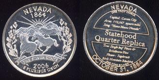 Nevada Statehood Quarter Replica 2006 .999 Fine Silver 1 Troy Ounce Round