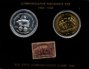 Commemorative Set 500th Anniversary of the Discovery of the New World Coin Stamp Set w/ Box